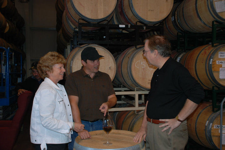 Winemaker Kian Tavakoli and Greyscale Wines Founders Larry and Jean Rowe